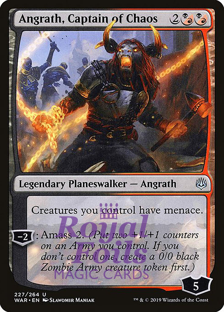 **1x FOIL Angrath, Captain of Chaos** WAR MTG War of the Spark Uncommon MINT black red