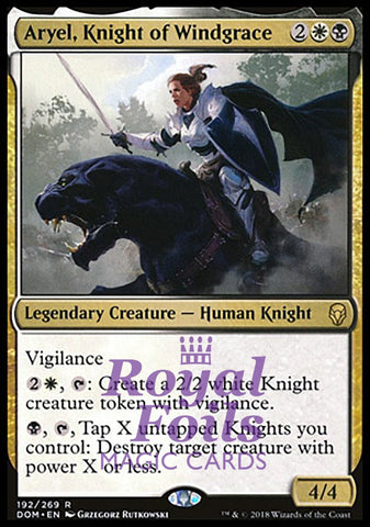 **1x FOIL Aryel, Knight of Windgrace** DOM MTG Dominaria Rare MINT white black