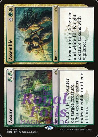 **2x FOIL Assure // Assemble** GRN MTG Guilds of Ravnica Rare MINT green white