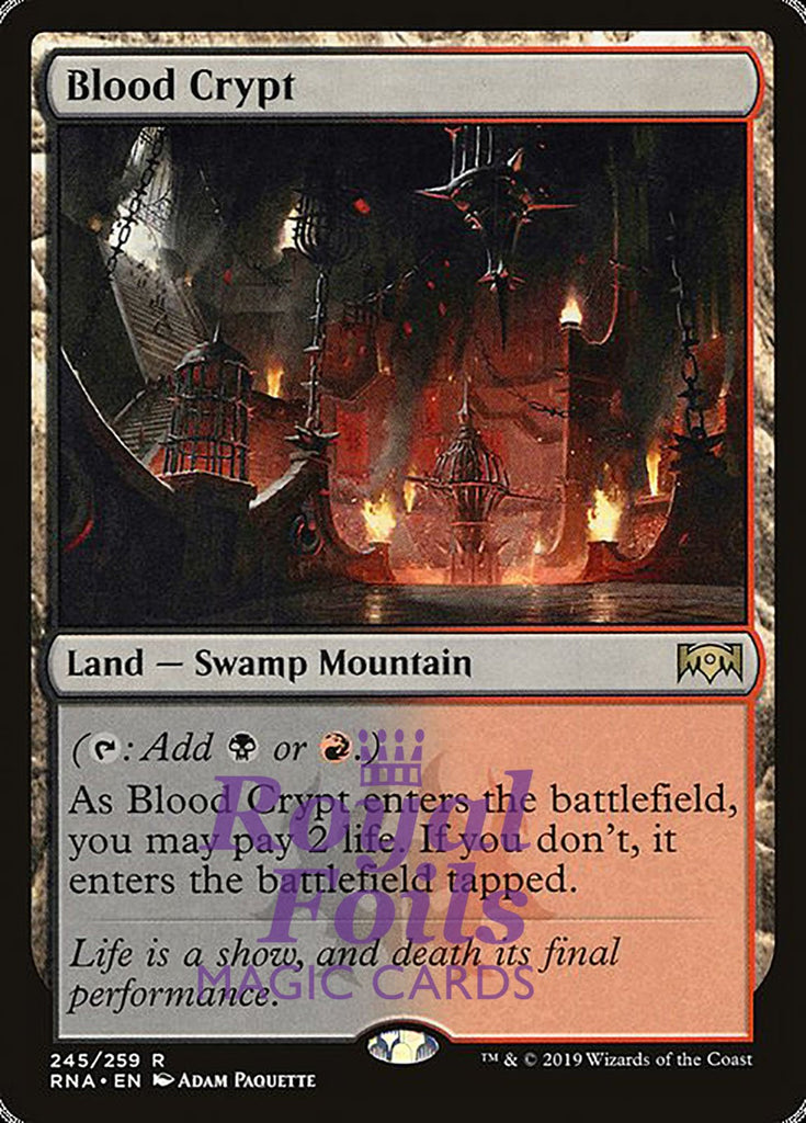 **1x FOIL Blood Crypt** RNA MTG Ravnica Allegiance Rare MINT red black land