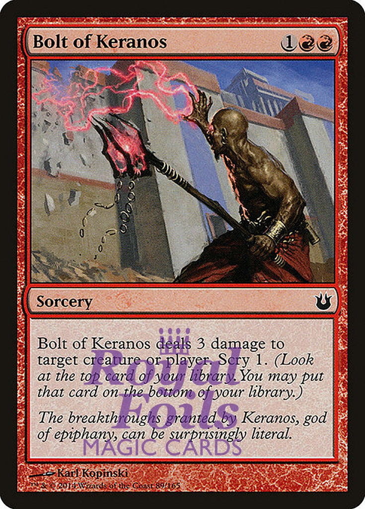 **4x FOIL Bolt of Keranos** BNG MTG Born of the Gods Common MINT red