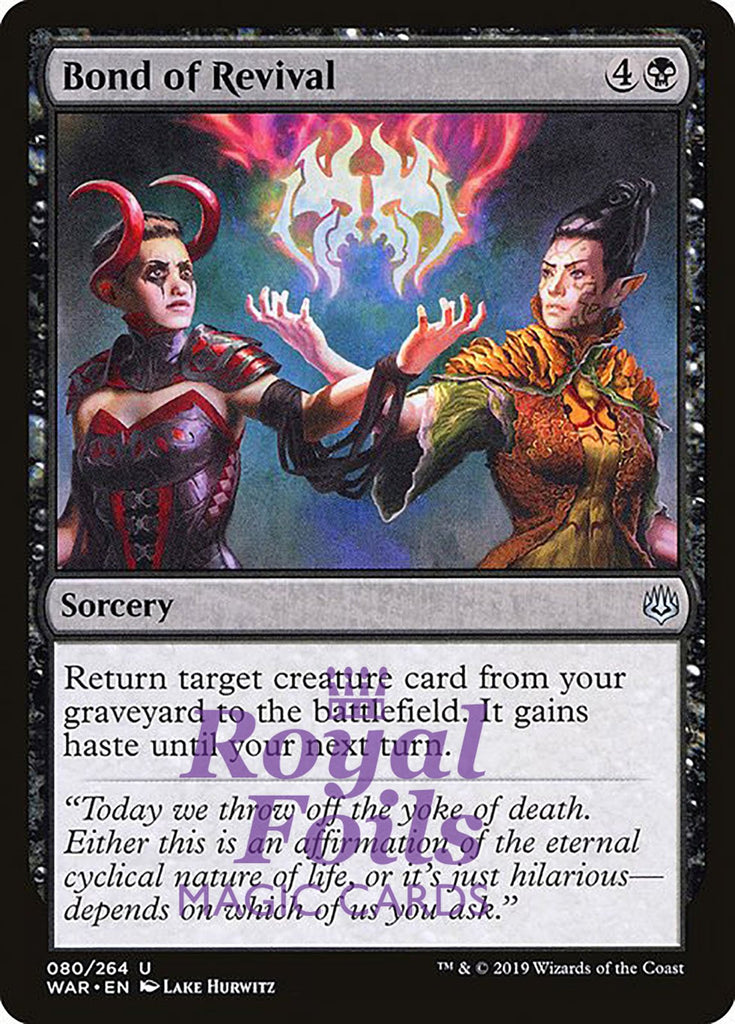 **3x FOIL Bond of Revival** WAR MTG War of the Spark Uncommon MINT black