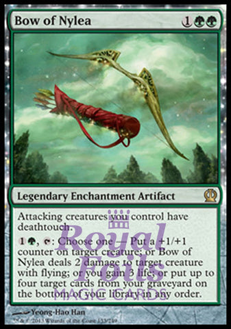 **1x FOIL Bow of Nylea** THS MTG Theros Rare MINT green