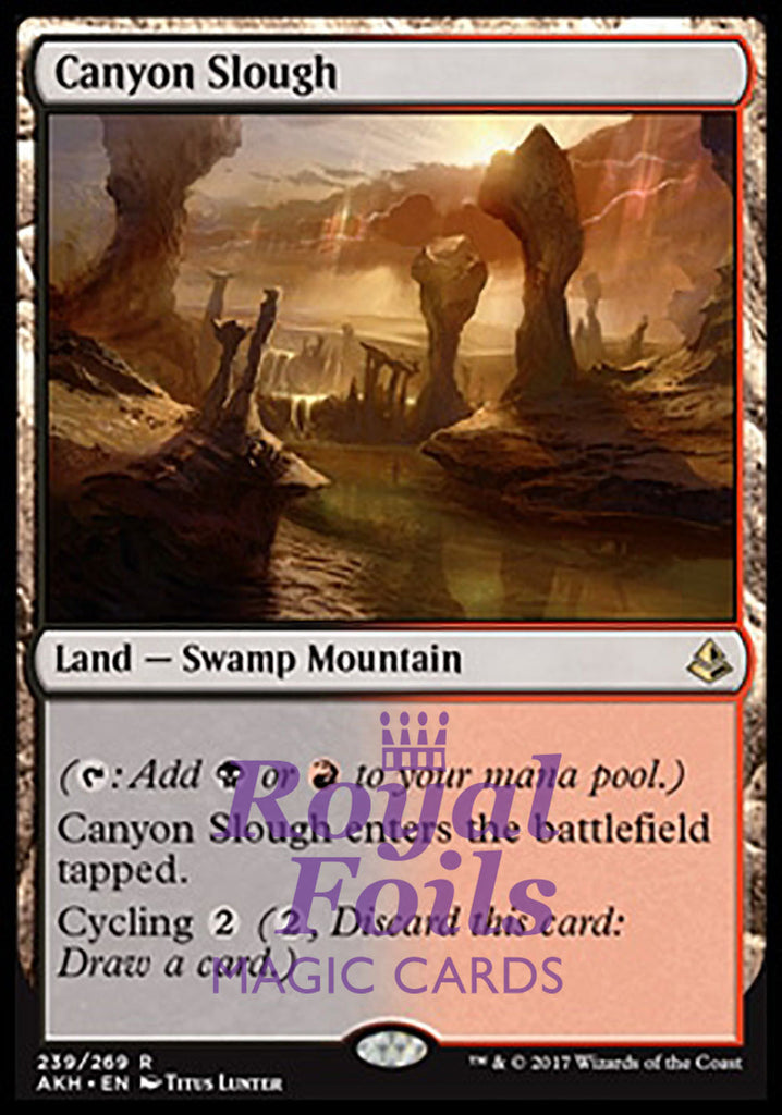 **1x FOIL Canyon Slough ** AKH MTG Amonkhet Rare MINT land