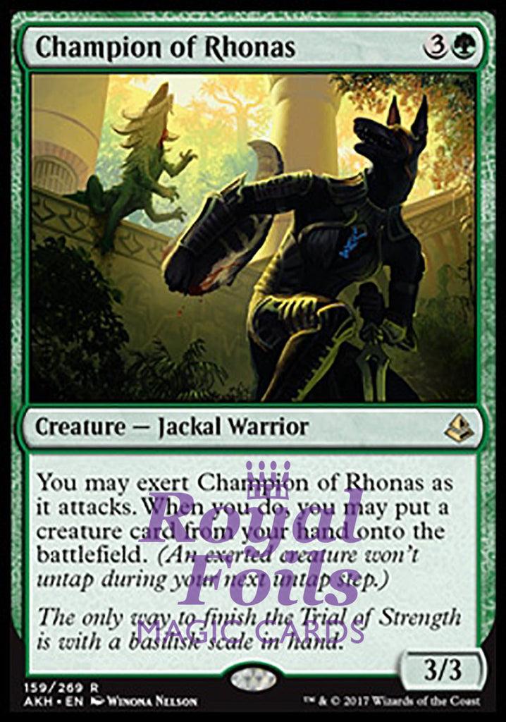 **1x FOIL Champion of Rhonas** AKH MTG Amonkhet Rare MINT green
