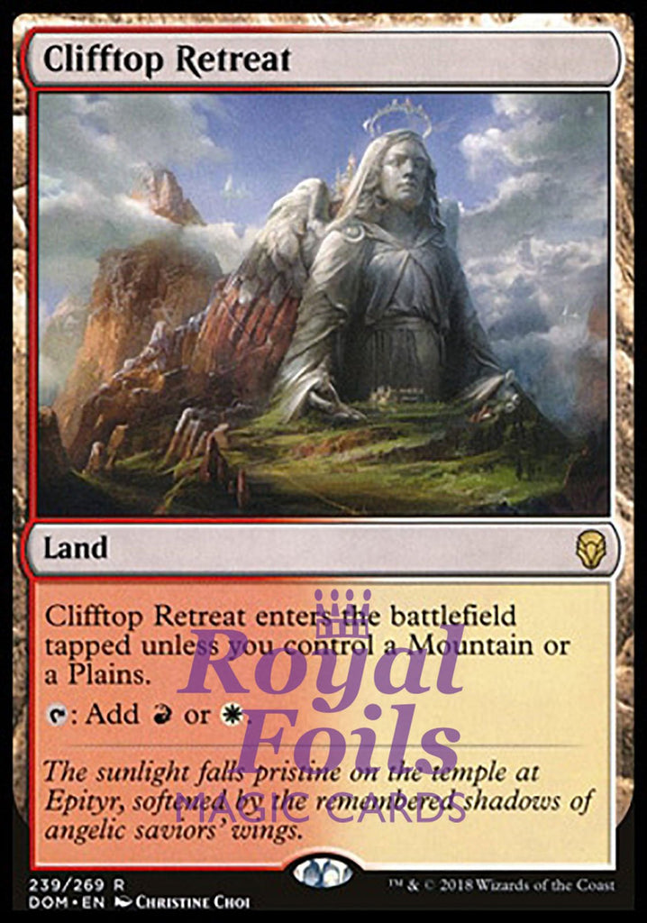 **1x FOIL Clifftop Retreat** DOM MTG Dominaria Rare MINT red white land