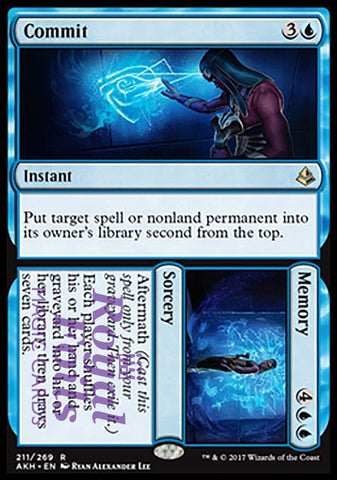 **1x FOIL Commit // Memory** AKH MTG Amonkhet Rare MINT blue