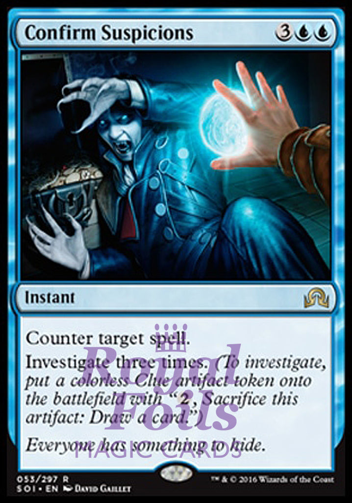 **1x FOIL Confirm Suspicions** SOI MTG Shadows Over Innistrad Rare MINT blue