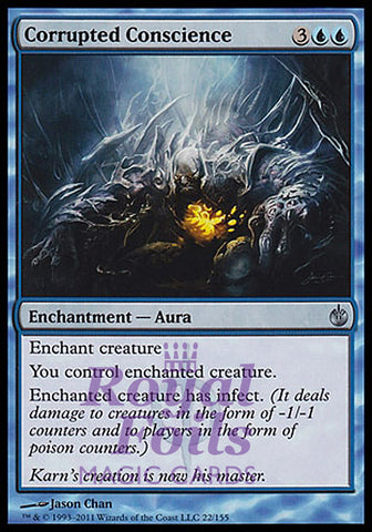 **1x FOIL Corrupted Conscience** MBS MTG Mirrodin Besieged Uncommon MINT blue