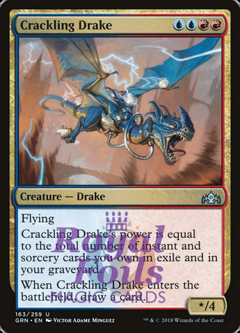 **1x FOIL Crackling Drake** GRN MTG Guilds of Ravnica Uncommon MINT blue red