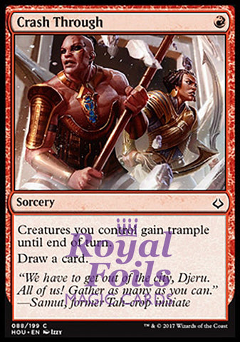 **1x FOIL Crash Through** HOU MTG Hour of Devastation Common MINT red