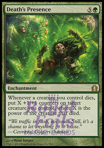 **1x FOIL Death's Presence** RTR MTG Return to Ravnica Rare MINT green
