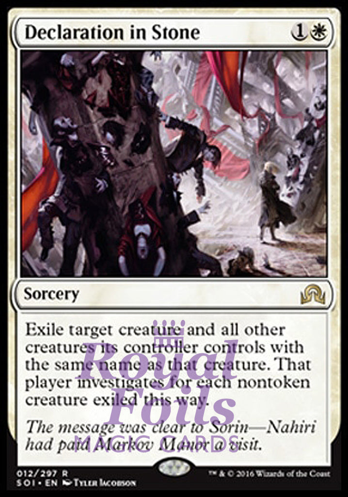 **1x FOIL Declaration in Stone** SOI MTG Shadows Over Innistrad Rare MINT white