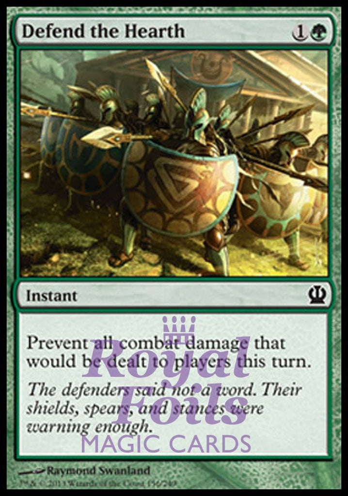 **4x FOIL Defend the Hearth** THS MTG Theros Common MINT green