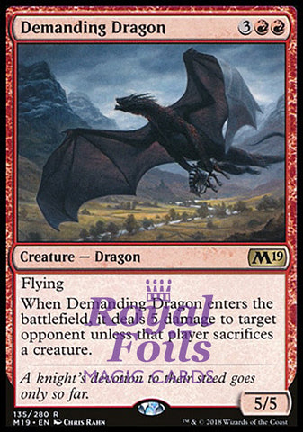 **1x FOIL Demanding Dragon** M19 MTG Core Set 2019 Rare MINT red