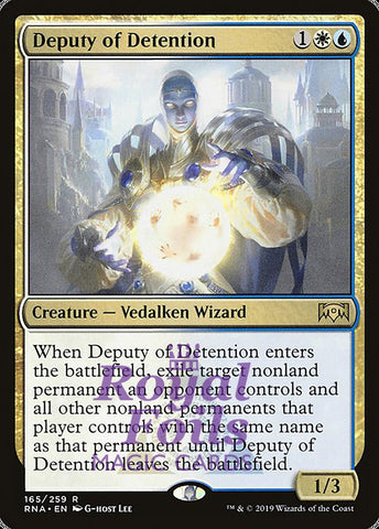 **1x FOIL Deputy of Detention** RNA MTG Ravnica Allegiance Rare MINT white blue