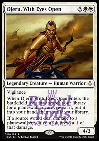 **1x FOIL Djeru, With Eyes Open** HOU MTG Hour of Devastation Rare MINT white