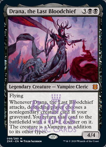**1x FOIL Drana, the Last Bloodchief** ZNR MTG Zendikar Rising Mythic MINT black