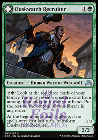 **1x FOIL Duskwatch Recruiter // Krallenhorde Howler** SOI MTG Shadows Over Innistrad Uncommon MINT green