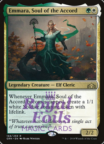 **1x FOIL Emmara Soul of the Accord** GRN MTG Guilds of Ravnica Rare MINT green white
