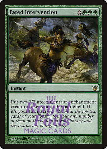 **2x FOIL Fated Intervention** BNG MTG Born of the Gods Rare MINT green