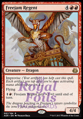 **1x FOIL Freejam Regent** AER MTG Aether Revolt Rare MINT red
