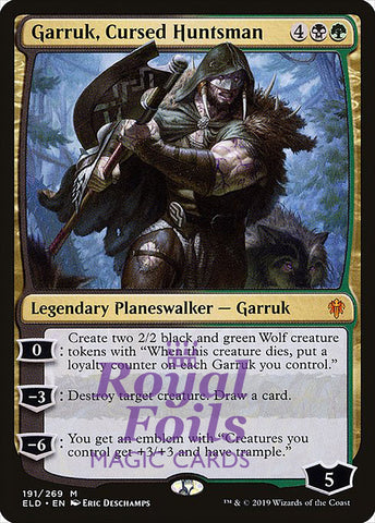 **1x FOIL Garruk, Cursed Huntsman** ELD MTG Throne of Eldraine Mythic MINT black green