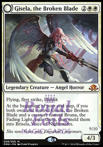 **1x FOIL Gisela the Broken Blade // Brisela Voice of Nightmares** EMN MTG Eldritch Moon Mythic MINT white