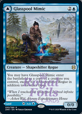 **1x FOIL Glasspool Mimic // Shore** ZNR MTG Zendikar Rising Rare MINT blue land