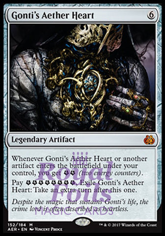 **1x FOIL Gonti's Aether Heart** AER MTG Aether Revolt Mythic MINT artifact