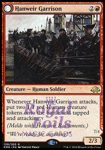 **1x FOIL Hanweir Garrison // Hanweir the Writhing Township** EMN MTG Eldritch Moon Rare MINT red