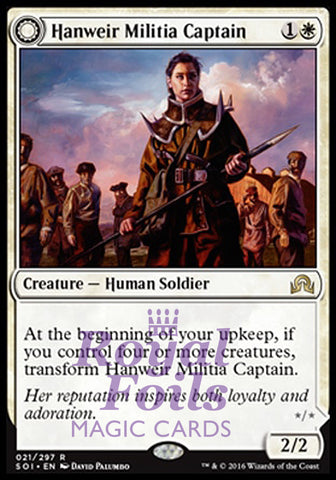 **1x FOIL Hanweir Militia Captain // Westvale Cult Leader** SOI MTG Shadows Over Innistrad Rare MINT white
