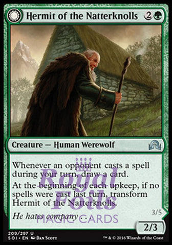 **1x FOIL Hermit of the Natterknolls // Lone Wolf of the Natterknolls** SOI MTG Shadows Over Innistrad Uncommon MINT green