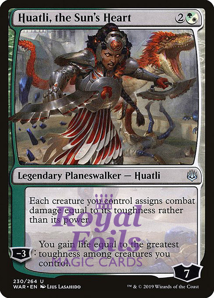 **1x FOIL Huatli, the Sun's Heart** WAR MTG War of the Spark Uncommon MINT green white