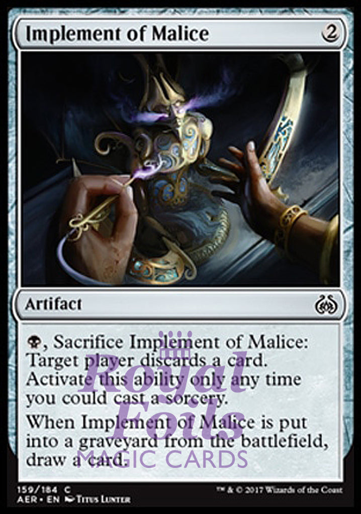 **4x FOIL Implement of Malice** AER MTG Aether Revolt Common MINT artifact