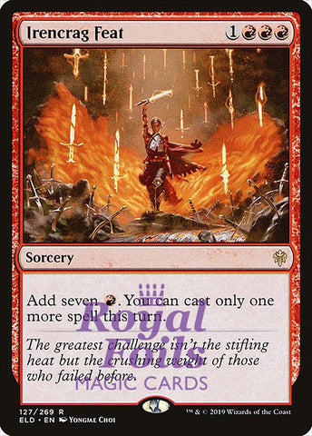 **1x FOIL Irencrag Feat** ELD MTG Throne of Eldraine Rare MINT red