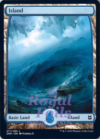 **1x FOIL Island #271 Full Art** ZNR MTG Zendikar Rising Basic Land MINT blue