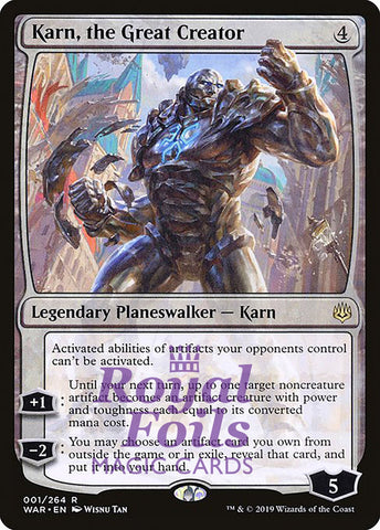 **1x FOIL Karn, the Great Creator** WAR MTG War of the Spark Rare MINT planeswalker