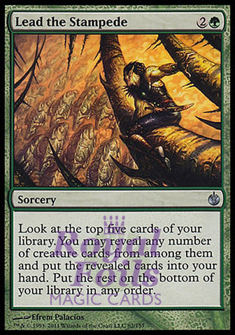 **1x FOIL Lead the Stampede** MBS MTG Mirrodin Besieged Uncommon MINT green
