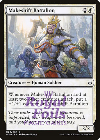 **2x FOIL Makeshift Battalion** WAR MTG War of the Spark Common MINT white