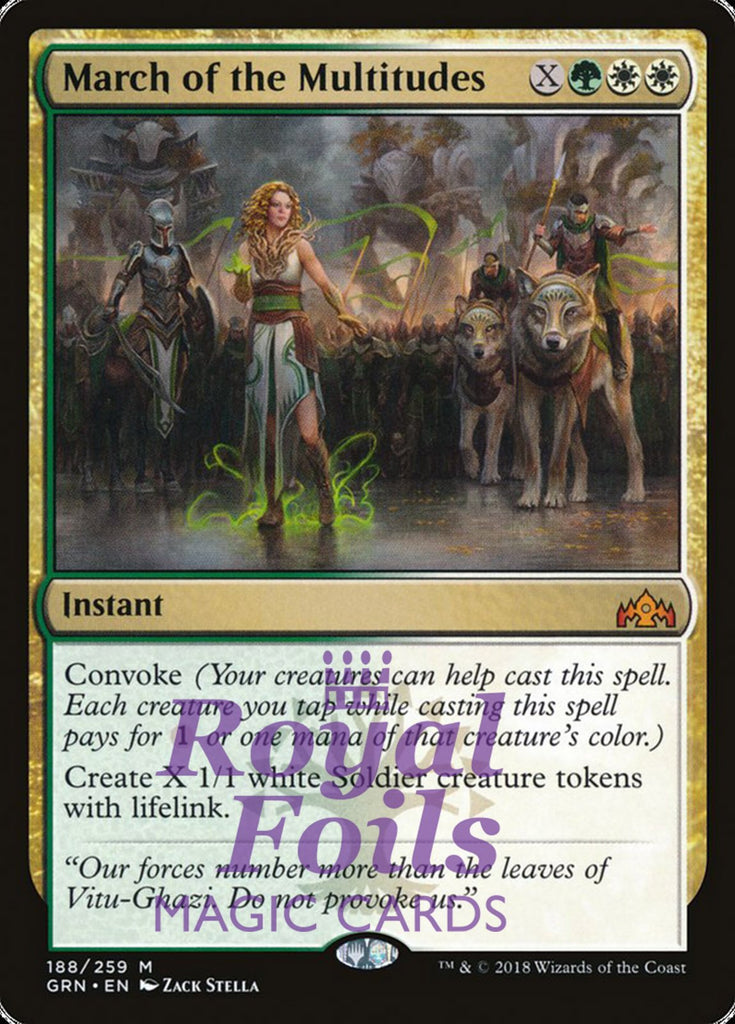 **1x FOIL March of the Multitudes** GRN MTG Guilds of Ravnica Mythic MINT green white