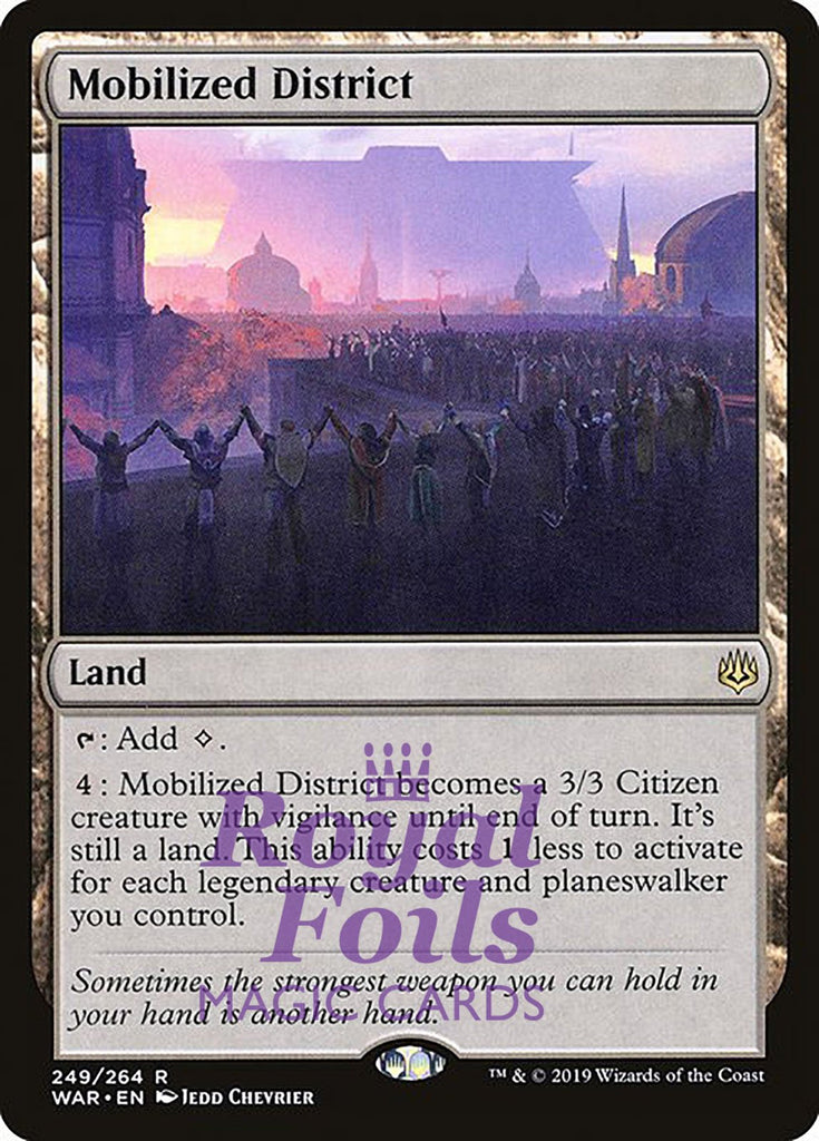 **1x FOIL Mobilized District** WAR MTG War of the Spark Rare MINT land