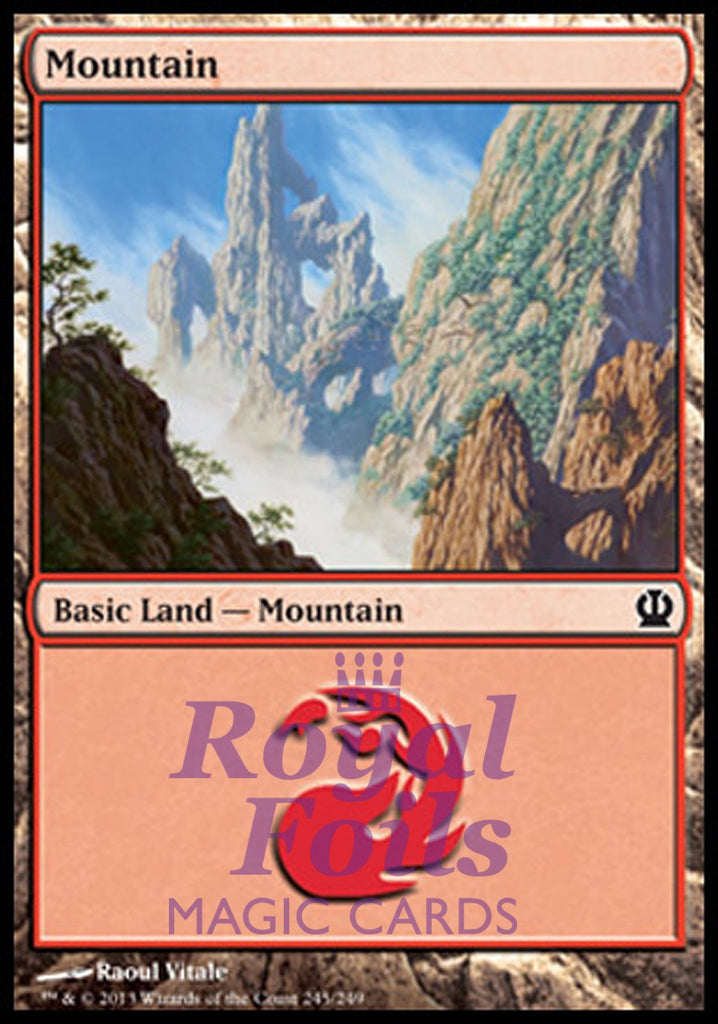 **2x FOIL Mountain #245** THS MTG Theros Basic Land MINT red
