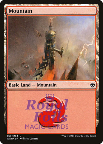 **3x FOIL Mountain #259** WAR MTG War of the Spark Basic Land MINT red