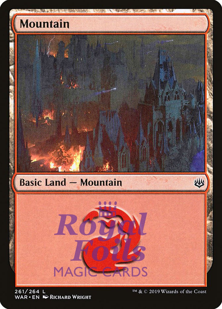 **2x FOIL Mountain #261** WAR MTG War of the Spark Basic Land MINT red