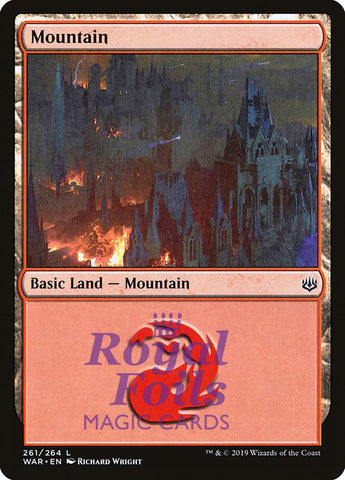**3x FOIL Mountain #261** WAR MTG War of the Spark Basic Land MINT red
