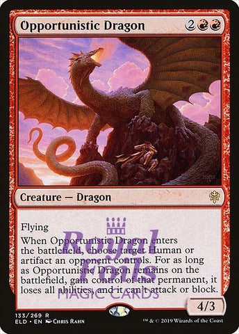 **1x FOIL Opportunistic Dragon** ELD MTG Throne of Eldraine Rare MINT red