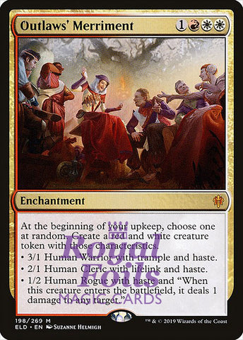 **1x FOIL Outlaws' Merriment** ELD MTG Throne of Eldraine Mythic MINT red white