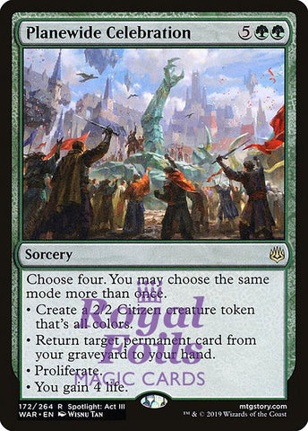 **1x FOIL Planewide Celebration** WAR MTG War of the Spark Rare MINT green