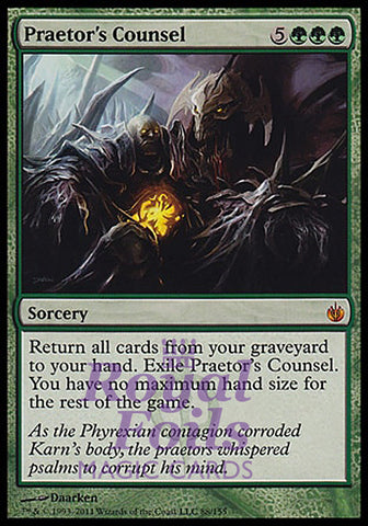 **1x FOIL Praetor's Counsel** MBS MTG Mirrodin Besieged Mythic MINT green